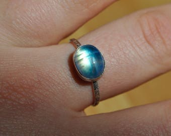 Glowing Moonstone Stacking Ring (made in your size!)