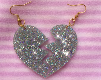 Small Kitsch Kawaii Deadly Valentine Acrylic Perspex Holographic Glitter Broken Heart Dangle Earrings