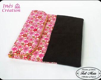 "Cover Tablet 10 ""pink/red flowers and Brown velvet Vintage spirit"