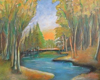 Landscape painting ,Acrylic painting, River in wood painting,