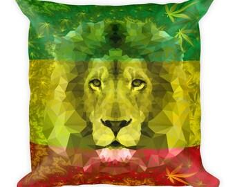 Square Pillow - Rasta Lion