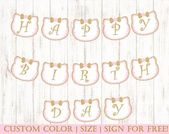Printable Hello KittyBanner |  Hello Kitty Birthday Party | Birthday Decorations | Birthday banner Girl | Kitty Banner