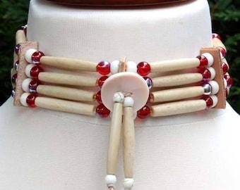 Native American choker red & white bone hair pipe choker Indian style bone bead necklace, Navajo biker rocker hippie festival boho choker
