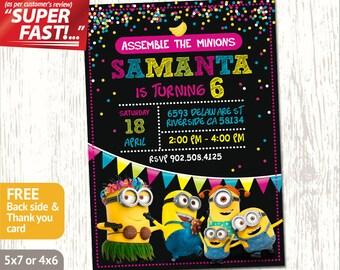 MINION BIRTHDAY PARTY Invitation, Minion Birthday Invite, Minion Invitation, Girl Minion Invitation, Minion Party Invite, Minion Invite, v2g
