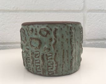 Vintage Small Green and Brown Textured Vase