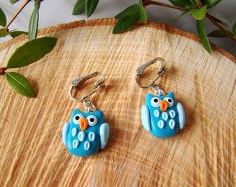 OWL - earrings owls owls - clips for kids blue Fimo - clip on earrings - clip on earrings for girls