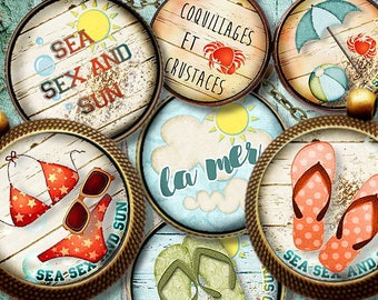 THE SEA **  Digital Collage Sheet Printable Instant Download for art jewelry scrapbooking bottle caps magnets pins