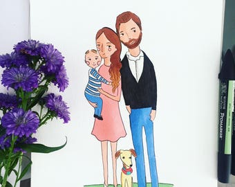 Custom Portrait- Personalized portrait- Custom Family Illustration- Family Portrait- Original drawing