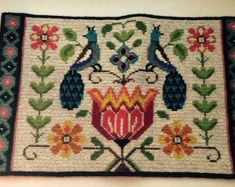 Vintage Swedish Embroidered Wall Hanging - 2 Birds