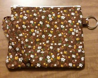 Brown Floral Wristlet Wallet