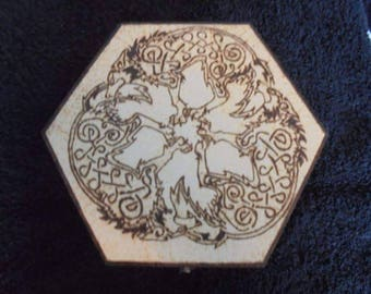 Wolf trilogy and celtic hand Pyrography wooden hexagonal box