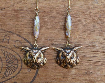 Owl Earrings French Brass Antique Vintage Style