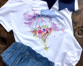 Never Stop Dreaming Watercolor Hot Air Balloon Graphic Tee