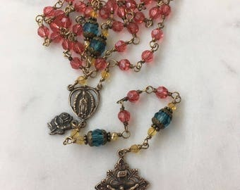 Our Lady of Guadalupe Swarovski Crystal Padparadscha (pink) Rosary Bronze Wire-wrapped Heirloom