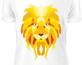 White T-shirt - Lion low poly color - B-WD-017