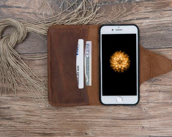 Leather Wallet Case for İphone 6-6S / 6-6S Plus / 7 / 7 Plus, Wallet Case for iphone 7 and iphone 7 plus, Brown Case for iphone #PAMİL