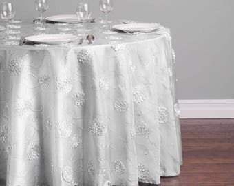 108 In. Round Rosette Sequin Tablecloth Silver