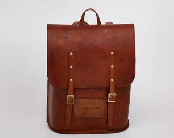Large Leather Bag - Leather Backpacks - Backpack  Purse - Handmade Rucksack - Minimalist Knapsack - Minimalist Rucksack - Leather Rucksack