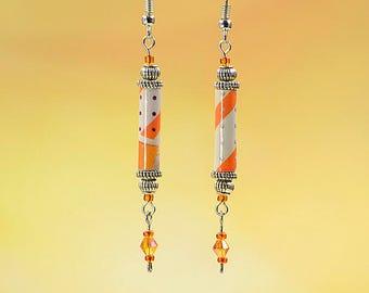 Orange White Geometric Pattern Dangle Earrings #543