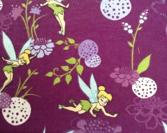 Flannel/Disney/Tinkerbell on purple background cotton fabric by the yard
