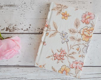 Blue and pink fabric covered A6 notebook with lined pages and ribbon book marker, A6 journal covered in vintage floral fabric, handbag size!