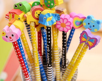 5 Pc Round Wooden Pencils with Cartoon Erasers - HB(#2) Wood Pencils
