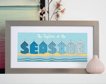 Personalised At The Seaside Framed Art