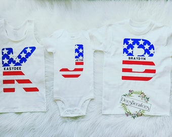 4th of July shirts, initial shirts, cute shirts