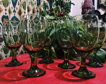 Vintage Libbey Olive Green Goblets, Water, Tea Glass, Wineglass // Set of 6