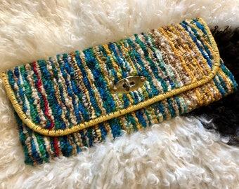 Jerry Terrence Carpet Bag Multicolor Clutch, Original Vintage Carpet Bag, Rare