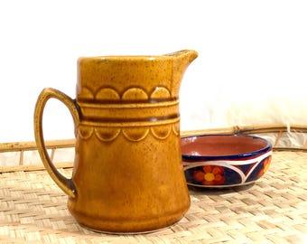 Vintage Glazed Ceramic Yellow Creamer Pitcher