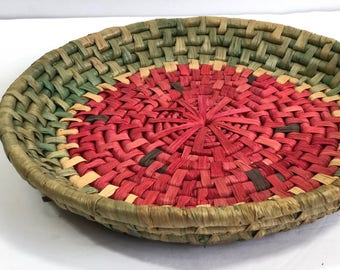 Vintage Woven Watermelon Wall Basket