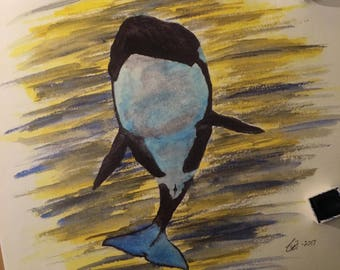 Colorful Orca water color painting (print)