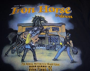 Vintage 1994 Iron Horse Saloon Bike Week 7th Annual Motorcycle Mardi Gras Bike Week T-Shirt Large