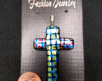 Dichroic Glass Cross Pendant