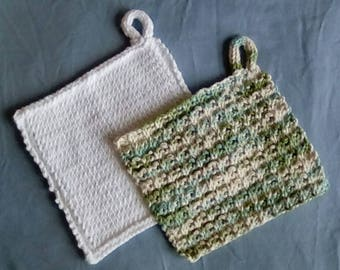 Washcloth 100% cotton handmade/ dish cloth/ burp cloth/ traveling accessories/ baby gifts/ hand knit/ vacation gifts/ bathroom accesorries