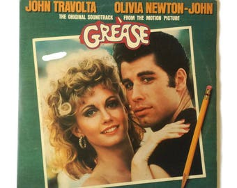 Grease Soundtrack 1978 Vinyl NM Rare Gatefold John Travolta and Olivia  Newton John UK Press Double LP Records Vintage Musical Movie