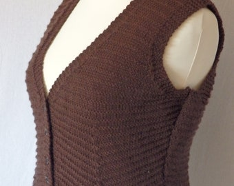"""Knit vest without sleeves, """"spencer"""" style, brown wool"""