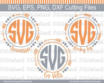 Tennessee svg, TN Football svg, Arrow Tennessee Frame, Go Vols svg, TN Volunteers, Rocky Top, SVG, png, Eps, Dxf, Silhouette Cutting Files