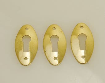 Solid Brass Keyhole Escutcheon 3 Pieces