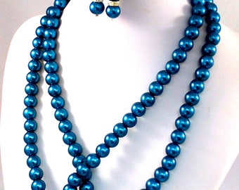 Handmade, Beaded, Jewelry, Blue Necklace, Beaded Necklace, Jewelry Necklace, Jewelry Set, Necklace, Earrings