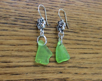 Large lime green beach glass flower earrings (silver-plated)