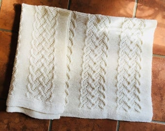 Vintage Cable Knit Baby Blanket - Cream Hand Knitted Baby Blanket