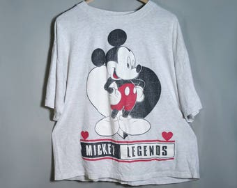80s Disney Official Mickey Unlimited Heather Grey Tee Sz Large XL Medium Oversize Gray Black White Red Graphic Disneyland Walt Disney World