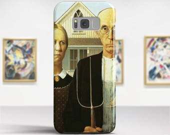 """Grant Wood, """"American Gothic"""".  Samsung Galaxy S6 Case LG G5 case Huawei P9 Case Galaxy A5 2017 Case and more. Art phone cases."""