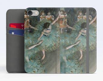 "Edgar Degas, ""The Green Dancers"". iPhone 8 Wallet case, iPhone 7 Wallet case  iPhone 6 Plus Wallet case. Samsung Wallet cases."