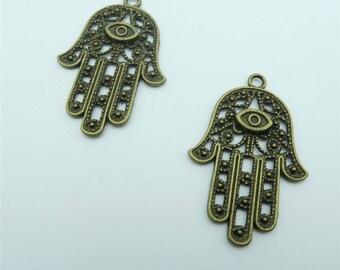 10pcs Fatima hand Pendants for necklace key chain antique brass Pendants Jewelry Findings & Components D-3-63