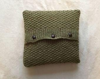Handmade Irish Aran Double Moss stitch cushion cover