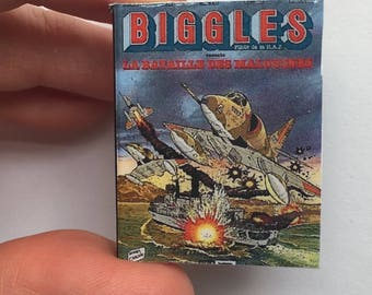 Miniature Book Brooch, Bookmark or magnet, Vintage book, Biggles, French