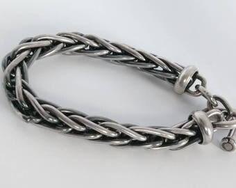 Vintage Sterling Silver Heavy Braided Bracelet